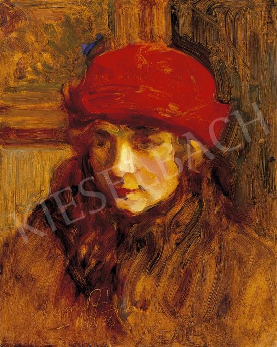 Thorma János - Piros kalapos hölgy | 5. Aukció aukció / 66 tétel