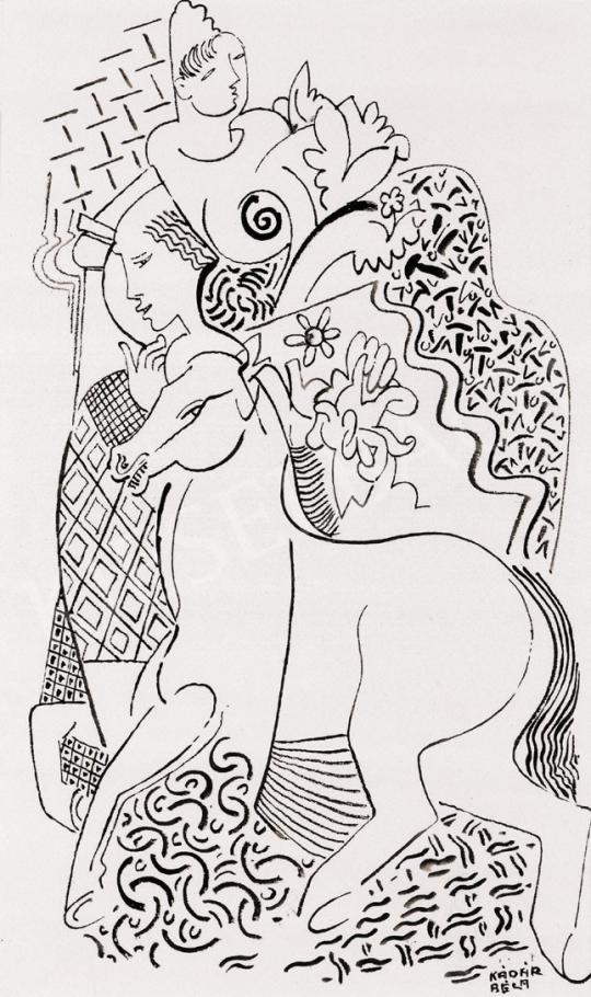 Kádár Béla - Szerelmespár lóval   22. Aukció aukció / 11 tétel