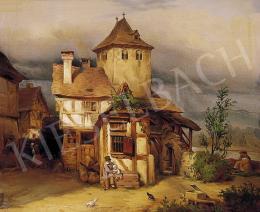 Ismeretlen festő, 1850 körül - Faház előtt ülők