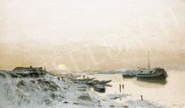 Mednyánszky, László - Sunrise by the Snowy Riverside