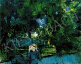 Vaszary János - Kilovaglás előtt a tatai parkban  (Séta a parkban, A tatai parkban) (1918)