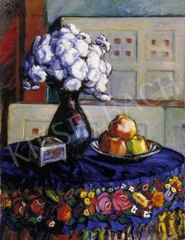 Kádár, Géza - Still Life with Blue Tablecloth