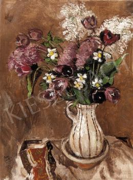Biai-Föglein, István - Still Life of Purple Tulips and White Daffodils