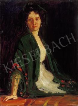 Borszéky Frigyes - Nő zöld kendővel