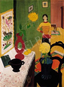 Vörös Géza - Csíkos blúzos nő szobában (Feleségem szobában)
