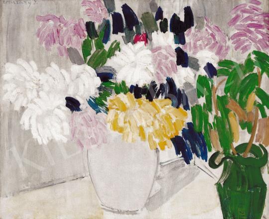 Vaszary János - Virágcsendélet zöld kancsóval (Krizantémok) | 22. Aukció aukció / 33 tétel