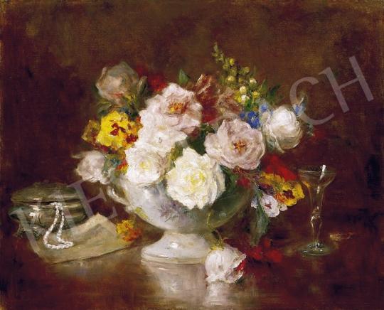 Ismeretlen festő - Csendélet, pohár pezsgővel és gyöngysorral | 5. Aukció aukció / 312b tétel