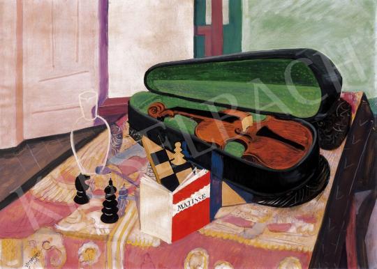 Vörös Géza - Csendélet hegedűvel | 22. Aukció aukció / 36 tétel