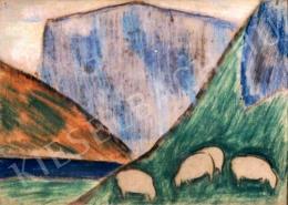 Nagy István - Legelő birkák (1933 körül)