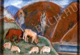 Nagy István - Legelő állatok a Gyilkos tónál (1927 körül)