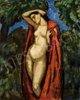 Iványi Grünwald, Béla - Nude with Red Mantle