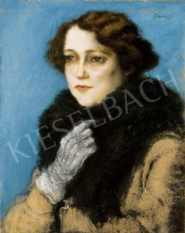 Rippl-Rónai, József - Lady in White Gloves with White Fur Collar (The Portrait of Terka Linzer) (1923)