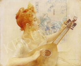 Karlovszky Bertalan - Mandolinját hangoló vörös hajú hölgy