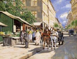Berkes Antal - Lovaskocsi a piac előtt