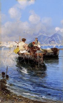 Giardiello, Giuseppe - Halászok a nápolyi öbölben háttérben a Vezúvval