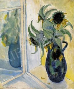 Schalk Sári - Ablakban tükröződő váza napraforgókkal