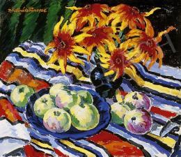 P. Kováts Ferenc - Csendélet színes terítőn almával és virágokkal