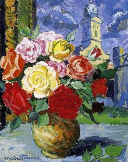 P. Kováts, Ferenc - Still Life with a Bunch of Roses, view from the window of the artist's studio in Nagybánya