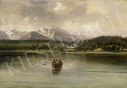 Telepy Károly - Evezősök a tavon, háttárben havas hegycsúcsokkal