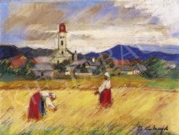 Thormáné Kiss Margit - Nagybányai táj aratókkal