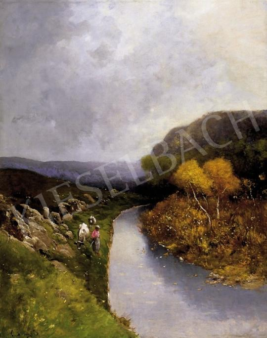 K. Spányi Béla - Pásztorlányka az őszi patakparton | 4. Aukció aukció / 154 tétel
