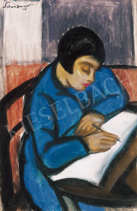 Schönberger Armand - Kék ruhás leány | 21. Aukció aukció / 3 tétel