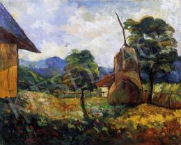 Kádár Géza - Nagybányai udvar szénaboglyával