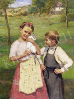 Áldor János László - Gyerekek cicával