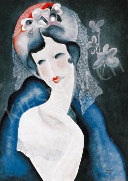 Kádár Béla - Lány virágos kalapban