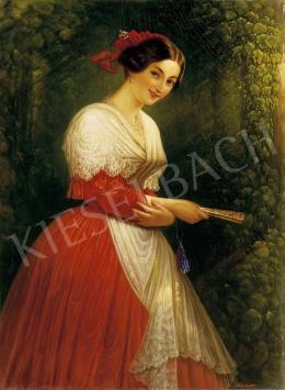 Hora János Alajos - Piros ruhás lány a lugasban legyezővel