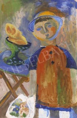 Anna Margit - Kisfiú gyümölcskosárral, kalapban virágcsokorral,megdőlt asztal előtt