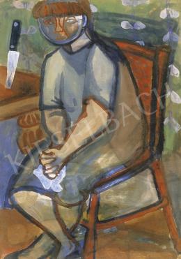 Anna Margit - Kendőt fogó önarckép tapétás szobában