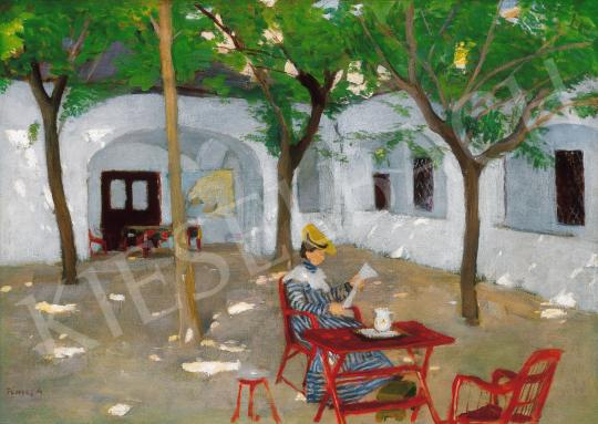 Fényes Adolf - Kalapos nő árnyas udvarban | 21. Aukció aukció / 20 tétel