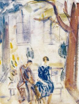 Márffy Ödön - Szerelmes pár padon, 1930 körül