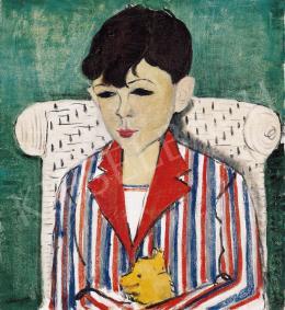 Vörös Géza - Csíkos inges fiú kiskutyával