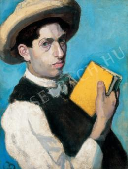 Berény Róbert - Szalmakalapos önarckép, 1906