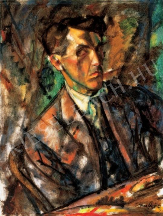 Márffy Ödön - Konstruktív önarckép, 1914 festménye
