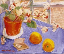 Walleshausen, Zsigmond - Still Life of Oranges on a Blue Tablecloth