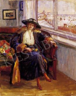 Ismeretlen festő, 20. század eleje - Nő kalapban az ablak előtt