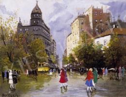 Berkes, Antal - Street Scene with an Omnibus