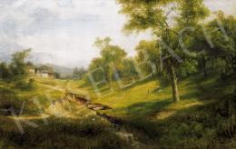 Telepy Károly - Tájkép, kis patakkal, kirándulókkal