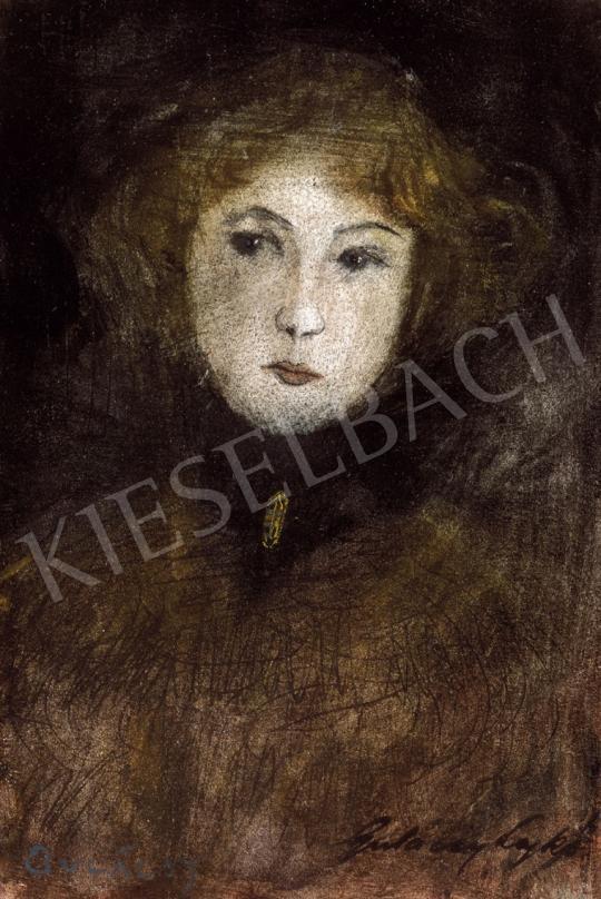 Gulácsy Lajos - Fiatal lány fekete selyemsállal, arany brossal, 1900 | 21. Aukció aukció / 31 tétel