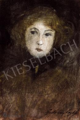 Gulácsy Lajos - Fiatal lány fekete selyemsállal, arany brossal, 1900