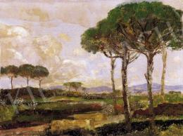 Magyar Mannheimer, Gusztáv - Italian Landscape with Pine Trees