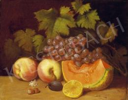 Ujházy, Ferenc - Still Life of Fruit with Grapes and Melon