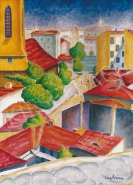 Pap Géza - Városrészlet vörös háztetőkkel (Tabán)