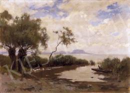 Edvi Illés Aladár - Balatonpart Badacsonnyal a háttérben