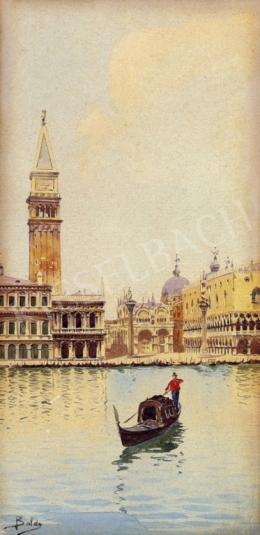 Baldo jelzéssel, 1900 körül - Gondola, háttérben a Szt.Márk tér