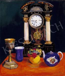 Gara Arnold - Csendélet kék pohárral és teáskannával valamint sárga vázával