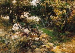 Neogrády Antal - Virágot szedő lányok patakparton